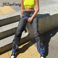 Jiezuofang punk estilo 2021 pantalones de mujer cintura alta gris elegante gótico estampado recto Sweetwear Streetwear Hip-Hop otoño Long Long Women's Capris