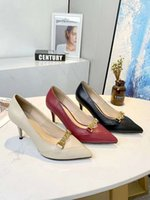 Women High Heels Gucci Dress Shoes Fashion Sexy Wedding Pointed Rivet Slippers Available in a variety of Sandal Colors With box size 35-40 7.5cm #19