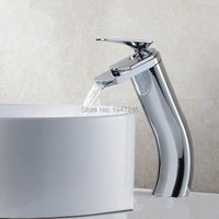 Bathroom Sink Faucets 2021 Unique Shape Luxury Lavatory Wash Basin Mixer Tap Waterfall Faucet Contemporary Design Brass Finish In Chrome