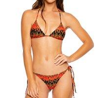 MS Swimsuit Bikini Rojo Negro Negro Amarillo Feliz Cuello Llama Cuello Encaje Arriba Bolsa de Triángulo Suave