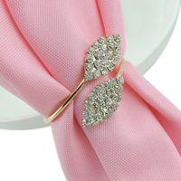 Glänsande kristall diamanter guld servett ring wrap serviette hållare bröllop bankett fest middag bord dekoration heminredning