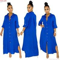 Vestido de moda cair 2021 camisa bohemian maxi três quartos botão de manga para cima mulheres vestidos africanos mais tamanho 90s casual