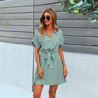 Summer Women Dot Pattern Dresses Office Lady Boho Clothing Black Viscose Bow-Knot Outfits Loose Soft Casual A-line Dress 2021