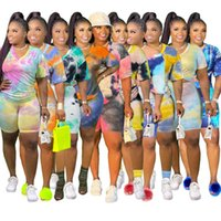 Donners Designer Abbigliamento 2021 Ladies Plus Size Tracksuits Tie-Tinked 8-Colour Slipa Casual Manica corta Set a due pezzi XL-5XL M88