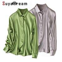 Suyadream femme solide chemise 93% soie 7% spandex satin manches longues satin chic blouse printemps automne bureau femme