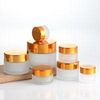 Garrafa de creme de vidro frasco 10G 20g 30g 1oz recipiente vazio frascos cosméticos com tampa de ouro preto