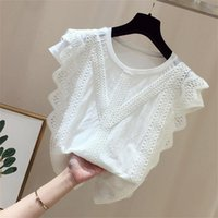 Women's Blouses & Shirts Summer 2021 Womens Tops Lace Sleeveless Solid Shirt Fashion Sexy Women Casual O-Neck Vest Ladies Loose Tank