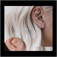 Jewelry Girls Tiny Bar Stylish Punk Upated Design Black Sier Gold Plated Cute Stud Earrings Drop Delivery 2021 Zbq9D