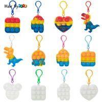 Fidget oyuncaklar Anahtarlık Favor Tasarımcısı Dinozor Araba Kare Push Poo Kabarcık Karikatür Dimle Gökkuşağı Oyuncak Anahtarlık Stres Rahatlatıcı HY04
