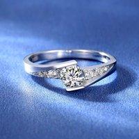 0,5ct Twisted Star NSCD Simulerad Diamantring för Kvinnor 925 Silver Förlovningsringar 18K Vitguld Pläterad Årsdag Present med låda