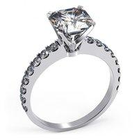 Sterling Silber Ring 6mm Kissen 1ct NSCD Simulierte Diamantringe Frauen Engagement Jewlery 18k Weißgold Plattiert