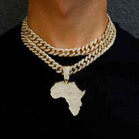Fashion Crystal Africa Map Pendant Necklace for Women Men's Hip Hop Accessories Jewelry Choker Cuban Link Chain