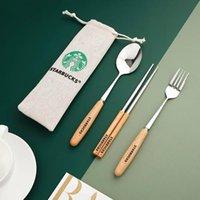 1 Set 3pcs Starbucks Flatware Set 304 Stainless Steel Coffee Milk Spoon Dinner Fork Small Round Dessert Mixing Fruit Spoon Factory Supply