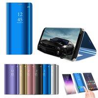 Smart Spiegel-E-Galvanik-Schlaf-Flip-Cover-Hüllen für Samsung S21 Ultra S20 plus Fe S10 Note 20 A71 A51 A22 5G Huawei lg Moto Sony