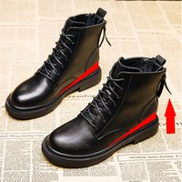 Slimming Hight Increasing Martin Boots Womens Genuine Leather 2021 New Autumn and Winter Korean Style Thick Heel Show Feet Small British Sty