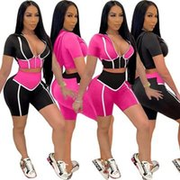 Women's Tracksuits LEOSOXS Deep V Neck Hooded Crop Top Short Set For Women Rose Black Patchwork Summer Fashion Sexy Skinny