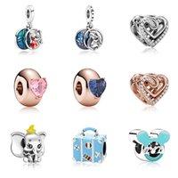 Passt Pandora Armbänder 20 stücke Elefant Aktentasche Panda Kristall Herz Anhänger Charms Perlen Silber Charms Perle Für Frauen DIY European Halskette Schmuck
