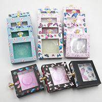 Storage Bottles & Jars 1pc Butterfly Pattern Design Square Packaging Box False Eyelashes Crystal Handle Lash Holder Case With Transparent Tr