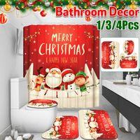 Christmas Santa Claus Shower Curtain New Year Bathroom Decoration Waterproof Bathtub Curtains Non-Slip Toilet Cover Bath Mat Set 210430
