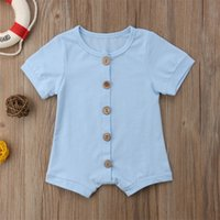 Diseñador Baby Girls Rampers Must-Have Button Boys Body Body Body One Piece Bow Manga corta Sólido Body Body Body Sumpsuits 77 Z2