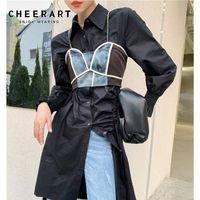 Women's Tanks & Camis CHEERART Chain Color Block Bralette Crop Top Designer Black Patchwork Bustier Cami 2021 Fashion Clothing