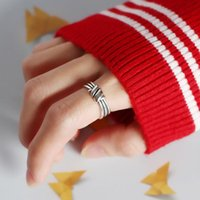 Cluster Rings LATS S925 Sterling Silver Korean Version Geometric Retro Knotted Personality Ring Index Finger Opening For Women Jewelry