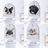 Wall Stickers 3D Hole Cartoon Dog Animal Toilet Sticker Home Decoration Diy Wc Pvc Poster Art Cute Creative Decal