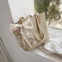 Shoulder Bags Female Crossbody Cotton Summer Sweet Designer Bag For Women 2021 Lady Fashion Trendy Weaving Beach Handbags Purses