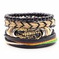 Tennis 4 Pcs Set Vintage Bronze Lizard Scorpion Charm Women Leather Bracelet Men's Wrap Bangles Wood Beads Homme Male Jewelry