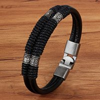 Charme Armbänder XQNI PU Leder Armband für Männer Doppelschicht Festes Zubehör Klassisch Design BracelingBangle 18-20 cm Große Rabatt Schmuck