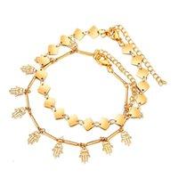 20 stücke Gold Kette Palm Knöchel Fußkettchen Armband barfuß Sandale Strand Fußkette Zwei Schicht
