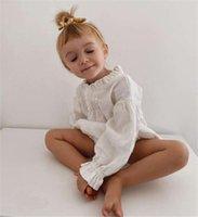 DB INS Kore Japonya Bebek Tulum Keten Pamuk Tulum Bebek Uzun Kollu One Ones Yenidoğan Ruffles Yaka Tasarımcı Romper Kıyafetleri Tırmanma