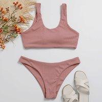 Ladies Sexy Solid Color Split Bikini Costume da bagno Donne Alto Seno Contrasto Gradiente Set Un pezzo