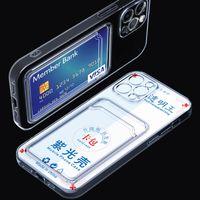 Antioxidant Slot TPU Transparenta mobiltelefon Väskor Skydd med kreditkortshållare till iPhone 12 Pro Max 11