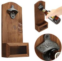 Retro Wall Mounted Bottle Opener Wall-Hanging Fixed Vintage Wooden Beer Openers for Bar Cap-Opener Kitchen Tools Cap Storage SN4116