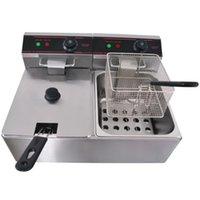 Food Processing Equipment Kolice double tanks 2x6L Chip Electric Deep Fryer Basket kfc Chicken Potato Frying Machine CRGA