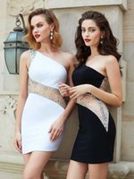 White Cocktail Dresses Sheath One-shoulder Short Mini Beaded Crystals See Through Elegant Party Homecoming Dresses H0916