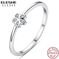 Cluster Rings ELESHE Real 925 Sterling Silver Ring Female Clear Crystal CZ Daisy Finger For Women Party Wedding Flower Jewelry