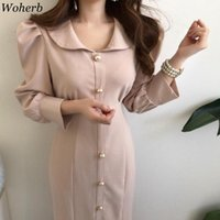 Woherb Office Lady Elegant Collier De Supérieur Collier High Taille Robe Femme Chic Boutons Feules Feunes Trompette Robes De Trompette Femme 25091 Casual