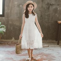 Summer Dresses For Girls 2021 Princess Vest Children Lace Elegant Embroidery White Dress Baby Girl Clothes 10 To 12 Girl's