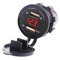 EAFC 5V 3.1A Adaptateur de chargeur de voiture double USB avec Voltmètre numérique à LED pour motocyclette de comprimé de tampon de téléphone 12-24V