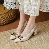 Dress Shoes ORCHALISA For Women 2021 Chunky Heels Pointed Toe Slingbacks Pumps Party White Black