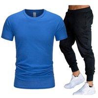 Herren Casual Trainingsanzug Summer Designer Kleidung Sportswear Zweiteiler Set Schwarz T-Shirt Spur Kleidung Männliche Sweatsanzug Sportanzüge S-2XL