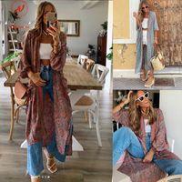 Women's Blouses & Shirts Retro Women Spring Autumn Long High Split Design V-Neck Sleeve Print Slim Cardigan