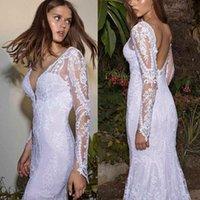 Beads Mermaid Wedding Dresses for Girls Long Sleeves Bride Bridal Gowns Lace Appliques Beach Sheath Column Custom Made