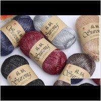 Ropa de tela de ropa de entrega de la ropa 2021 100 g / bola de algodón de seda de la bola de la costura de la costura del hilo de lana gruesa del hilo para tejer de tejido de la mano suéter CE