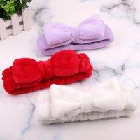 Frauen Coral Fleece Bow Hair Band Solide Farbe Wash Gesicht Make-up Weiche Stirnbänder Mode Mädchen Turban Kopf Wraps Haarschmuck 323 Y2