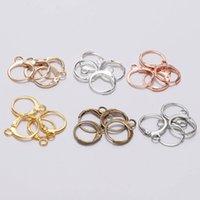 20pcs / lot 14x12mm Gold Rose Gold Boucle d'oreille Français Settings Base pour boucles d'oreilles Bijoux DIY Faire constatations