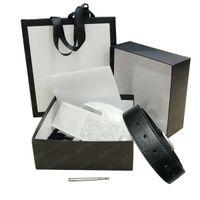 Cintos de correia para homens fivela de ouro de couro preto com saco de poeira branca caixa grande e cartões Snake sup 3.8cm # OG03