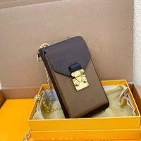 Luxurys bolsas vertical carteira zippy saco de telefone velho flor de couro real bolsa de bolsa de bolsa crossbody interior cartão slots vários bolsos navio